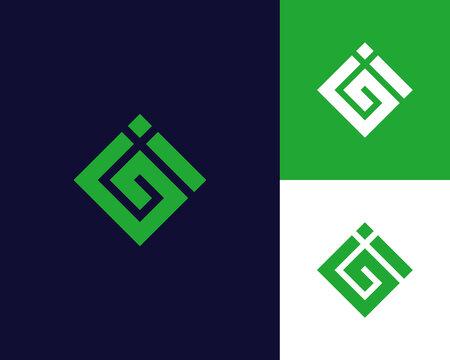 Letter G I logo design. creative minimal monochrome monogram symbol. Universal elegant vector emblem. Premium business logotype. Graphic alphabet symbol for corporate identity