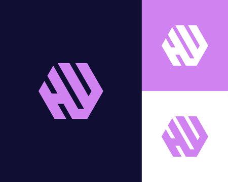 Letter H W logo design. creative minimal monochrome monogram symbol. Universal elegant vector emblem. Premium business logotype. Graphic alphabet symbol for corporate identity