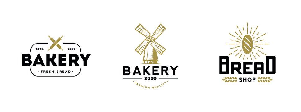 Bakery logo set. Vector illustration