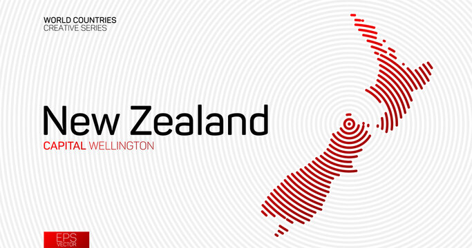 Abstract map of New Zealand with red circle lines