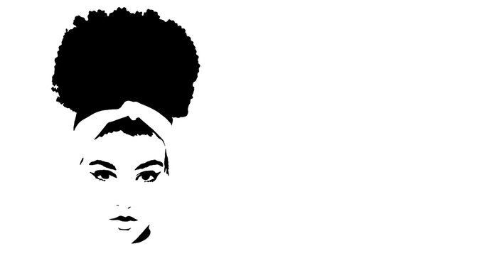 Background of Cute black African American girl or woman. Portrait with high puff curly Afro hair style and face make up, illustration with text space for cosmetics. Silhouette afro girl