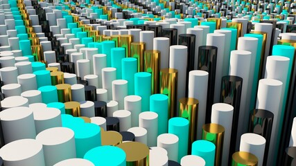 Abstract cylinders background. 3D shapes illustration. Modern graphic design. 3d objects wallpaper.