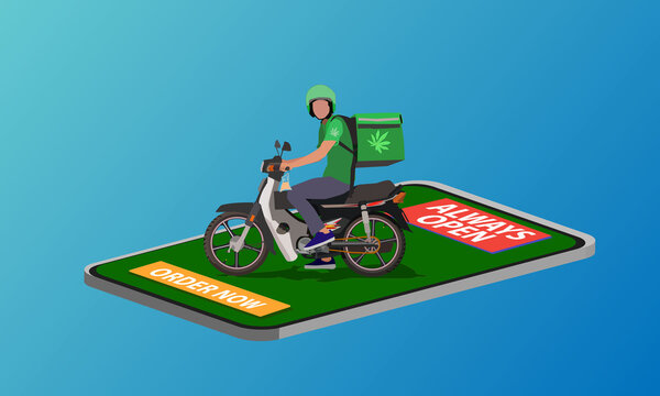 Weed rider service delivery in country that legal marijuana consumption.