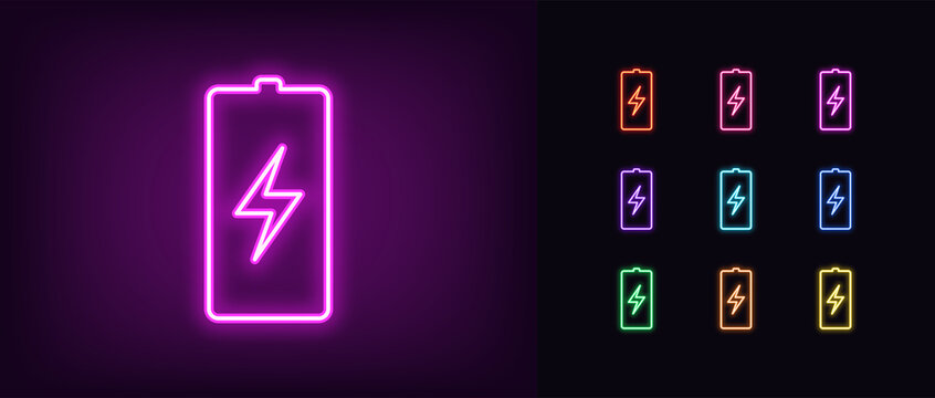 Neon battery icon. Neon charge battery sign with lightning