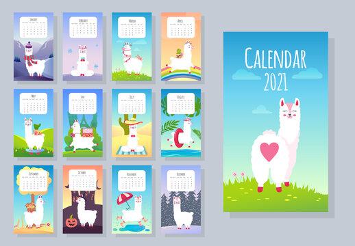 Calendar 2021. Cute monthly calendar with llama alpaca animals. Hand drawn style characters