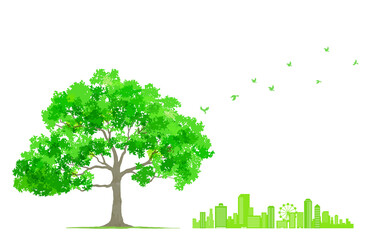 木と飛んでいる鳥と街並み