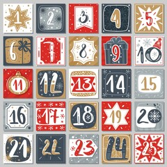 Fototapeta December advent calendar. Christmas poster countdown printable tags numbered poster with xmas ornament, winter postcard vector template obraz
