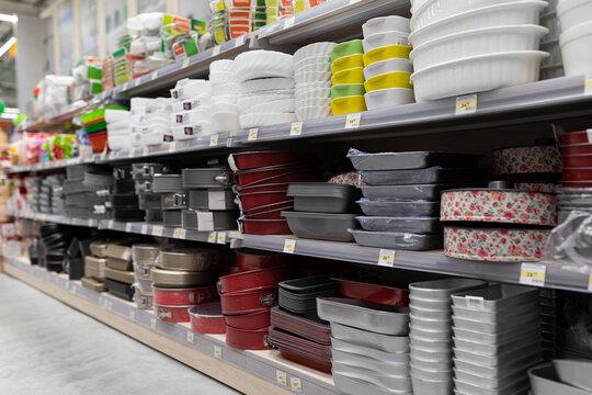 MINSK, BELARUS - April 01, 2020: large selection of cookware on store shelves