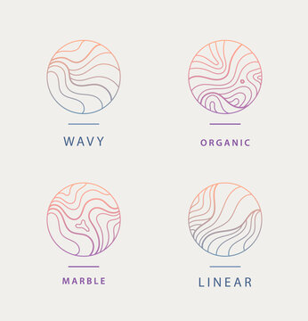 Vector set of abstract wavy minimal organic logos. Marble line emblem for business, badge, print, icon gradient. Nature, landscape, meditation, spa, cosmetics etc.