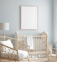Papiers peints Pierre, Sable Mock up frame in boy nursery with natural wooden furniture, 3D render
