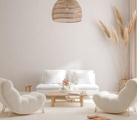 Scandi-Boho style living room interior, wall mockup, 3d render