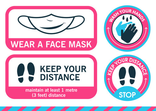 Banner sign. Sticker Wear a face mask. Foot sticker in circle Keep your distance. Wash your hands. Maintain distance mark. To prevent coronavirus, pandemics, covid-19 or other viruses.