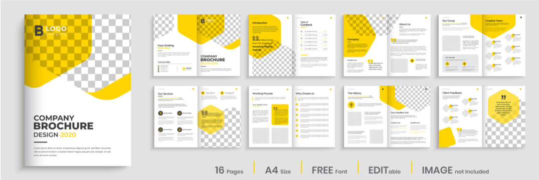 Corporate brochure design with yellow shapes, minimal professional company profile, annual report, multi-pages brochure template layout