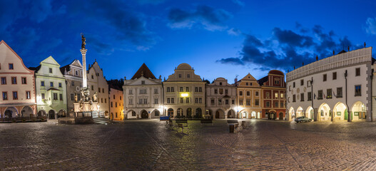 Empty town square in Cesky Krumlov early evening