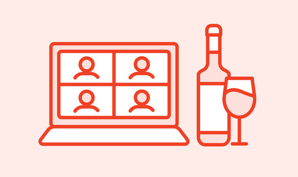 Online wine party, birthday, meeting friends  in quarantine lockdown. Bottle of wine and glass near laptop. Video chat. Videoconference. Vector color pink icon outline illustration. Editable stroke