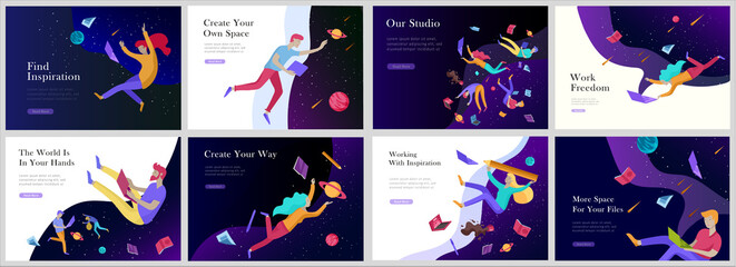 landing page templates set. Inspired People flying in space and reading books. Characters moving and floating in dreams, imagination and freedom inspiration. Flat design style