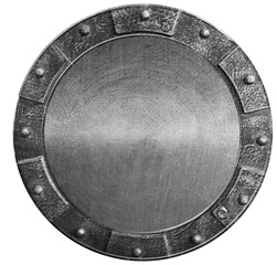 Photo Blinds Metal Round medieval shield isolated on white. 3d illustration