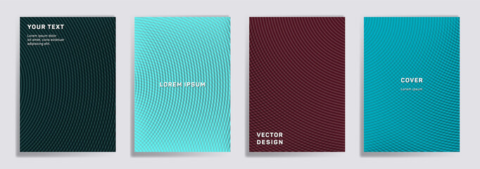 Semicircle lines halftone grid covers vector set.