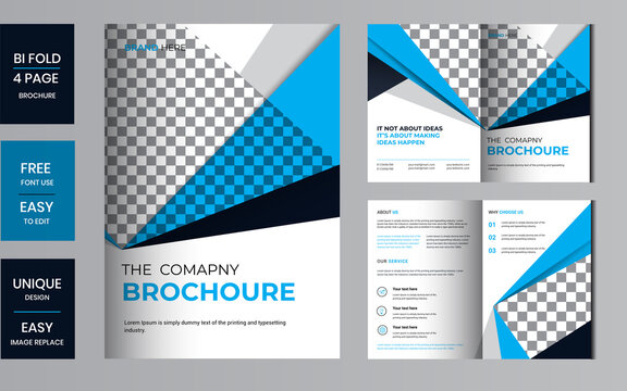 Bi-fold business brochure design template. Corporate template for bi fold brochure vector layout. Creative concept folded flyer or bifold brochure with graphic elements.