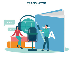 Translator and translation service concept. Polyglot translating