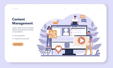 Content management web banner or landing page . Idea of digital