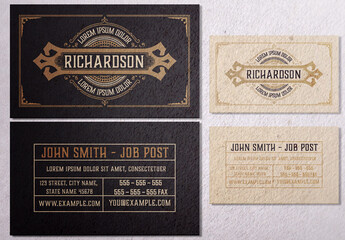 Vintage Business Card Layout with Ornaments