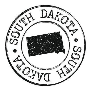 South Dakota Silhouette Postal Passport Stamp Round Vector Icon.