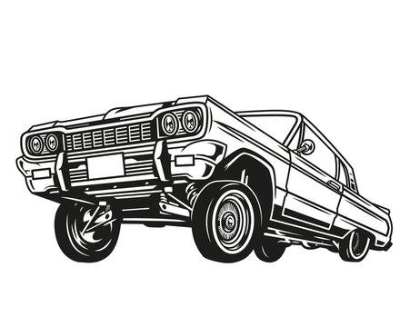 Vintage concept of low rider retro car