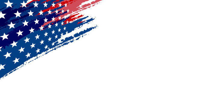 November 11, honoring all who served, posters, modern brush design vector illustration. Happy Memorial Day banner. National american holiday. Blurry american flag. Vector backgroun