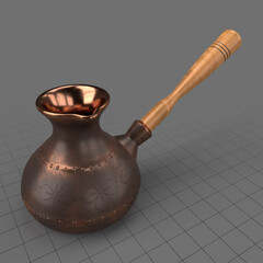 Coffee pot with wooden handle