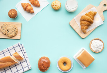 Set of breakfast food or bakery,cake on table background
