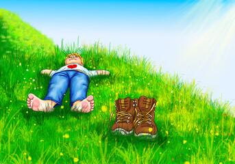 Junge Kind liegt barfuß bequem Hände hinter Kopf auf Wiese Bergwiese Wanderer hoch oben Schuhe Pause Berge Gebirge Allgäu Bayern Österreich Schweiz Tirol Urlaub Herz Natur ausruhen Sonnenschein