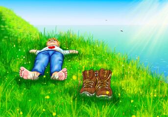 Junge Kind liegt barfuß bequem Hände hinter Kopf auf Wiese Meer im Hintergrund Sonnenstrahlen oben Wanderer Schuhe Pause Berge Gebirge Südtirol Gardasee Österreich Schweiz Herz Natur Urlaub Madeira