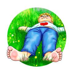 Junge Kind liegt barfuß bequem Hände hinter Kopf auf Wiese Bergwiese ohne Schuhe Pause Urlaub träumen schauen Blick in Himmel nach oben Herz Natur ausruhen liegen hinlegen Gras Blumen Heu Kreis rund