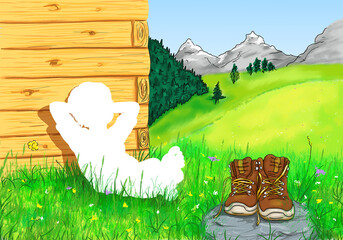 Junge Kind sitzt barfuß bequem Hände hinter Kopf angelehnt Platz ist leer weiß Silhouette oben Wanderer Ausmalbild Schuhe Pause Berge Gebirge Allgäu Bayern Österreich Schweiz Tirol Urlaub Herz Natur