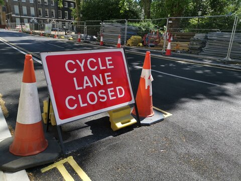 Cycle lane closure sign in London city