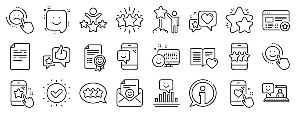 Set of User Opinion, Customer service and Star Rating icons. Feedback line icons. Testimonial, Positive negative emotion, Customer satisfaction. Social media feedback, star rating technology. Vector
