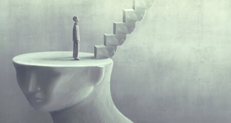 Surreal art of dream success and hope concept  , imagination artwork,  ambition idea painting illustration, man with stairs on giant human head sculpture