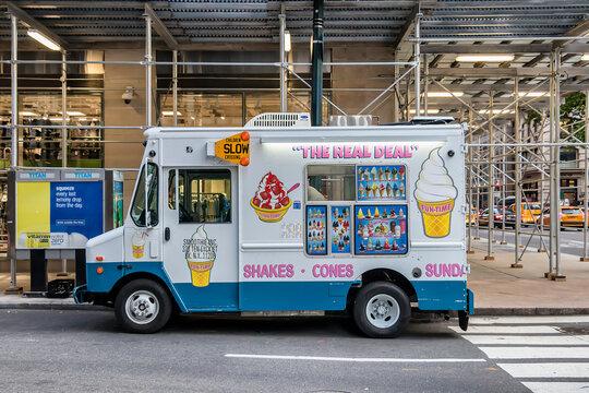 New York City, USA - June 12, 2017: Vintage ice cream truck in New York City