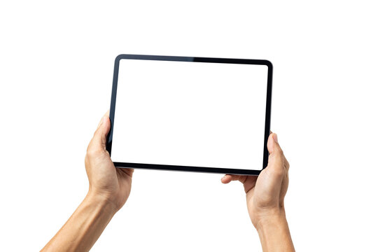 Hand man holding tablet with mockup blank screen isolated on white background with clipping path