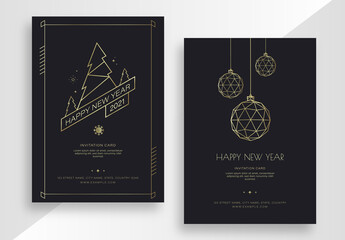 New Year Invitation Card Set with Gold Elements