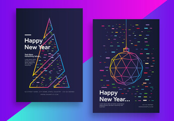 New Year Modern Poster Set with Geometric Elements.Zip