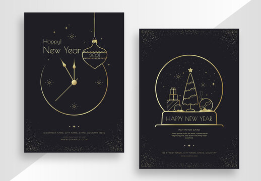 Happy New Year Poster Set with Gold Elements