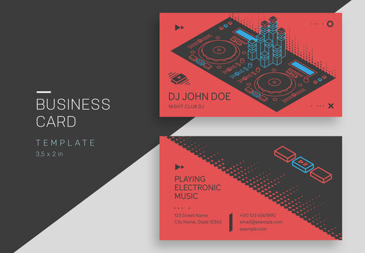Music Business Card Layout with DJ Equipment