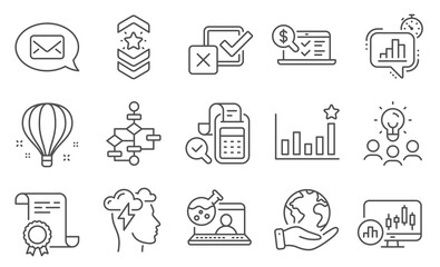 Set of Education icons, such as Block diagram, Online chemistry. Diploma, ideas, save planet. Checkbox, Online accounting, Efficacy. Mindfulness stress, Candlestick chart, Bill accounting. Vector
