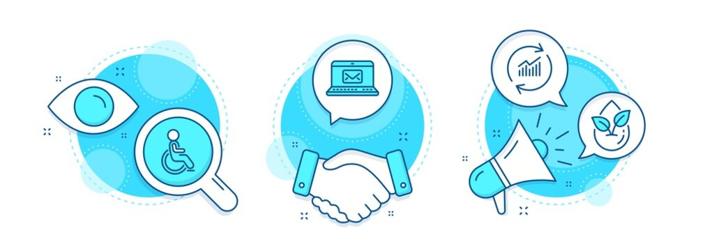 Organic product, E-mail and Update data line icons set. Handshake deal, research and promotion complex icons. Disabled sign. Leaf, New message, Sales statistics. Handicapped wheelchair. Vector