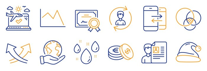 Set of Business icons, such as Euler diagram, Phone communication. Certificate, save planet. Santa hat, Rainy weather, Human resources. Line chart, Airplane travel, Intersection arrows. Vector
