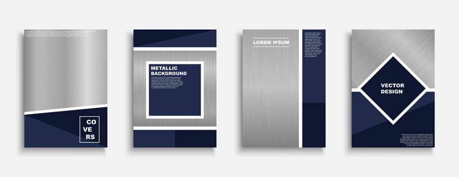 Set of vector stylish metallic covers, templates, backgrounds, placards, brochures, banners, flyers and etc. Decorative trendy posters with creative polished metal texture