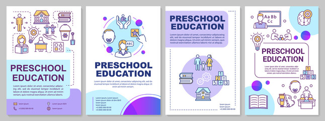Preschool education brochure template. Childcare and parenting. Flyer, booklet, leaflet print, cover design with linear icons. Vector layouts for magazines, annual reports, advertising posters