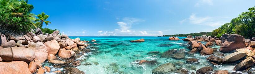 Wall Mural - Panoramic view of a beautiful beach near Anse Lazio on the island of Praslin, Seychelles